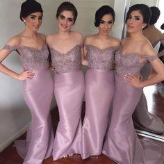 Mermaid Bridesmaid Dresses Long,Off-the-shoulder Bridesmaid Dresses Pink,Elastic Woven Satin Beading Bridesmaid Dresses Best