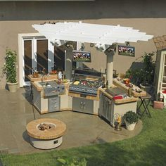 außenküche selber bauen küchenmodule flexibel holzpergola säulen runde feuerstelle The Effective Pictures We Offer You About covered Outdoor kitchen bars A quality picture can tell you many things. Simple Outdoor Kitchen, Small Outdoor Kitchens, Outdoor Kitchen Plans, Outdoor Kitchen Countertops, Outdoor Kitchen Design, Outdoor Rooms, Outdoor Living, Outdoor Furniture Sets, Outdoor Decor