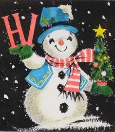 #1321 50s Mid Century Snowman in the Night-Vintage Christmas Card-Greeting