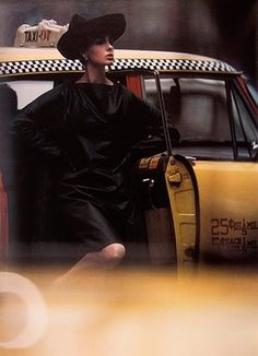 New York in Color: Antonia + Yellow Taxi-  Antonia + Yellow Taxi, New York 30/4, 1962 Despite having no formal training, William Klein became a hugely influential photographer in fashion and photojournalism. His use of motion blur, unusual in the 1960s, underlines this photograph of a model stepping out of a ubiquitous New York yellow cab  Photograph: William Klein