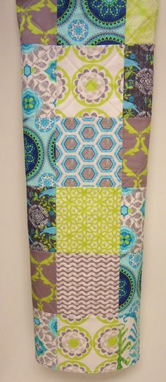 Quilt Modern Baby, Gray, Aqua, Lime Green, Turquoise, Birds, Baby Bedding Quilt. $89.00, via Etsy.