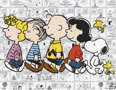 Snoopy, Woodstock and a Friend, Charlie Brown, Lucy, Sally and Linus Walking in a Group