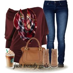 maroon sweater with plaid tartan scarf, jeans, Chloe bag, tan ankle boots