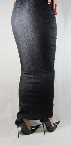 https://flic.kr/p/cW633o | Black Denim Ankle-Length Hobble Skirt and Ultra-High…