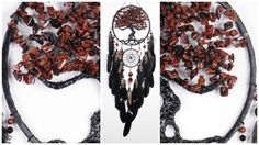 Brown Dream Catcher Tree of life Dreamcatcher brown obsidian Dreamсatcher black dreamcatcher handmade idea gift birthday decor idea Bohemian Black Dream Catcher, Obsidian Stone, Anna, Selling On Pinterest, How To Make Beads, Tree Of Life, Bohemian Decor, Wooden Beads, Birthday Decorations