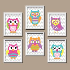 Funky Bold Bright Colorful Owl Artwork Set of 6 by trmDesign, $45.00