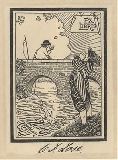 "L. Frölich (Danish), Bookplate for C.J. Lose, 1915.  8.2 x 6.1 cm.  Houghton Modern.  ""This plate is a palpable steal with no credit, of the plate of Charles Walton, by T. Spicer-Simpson, 1898.""  In the Fearing Angling collection."