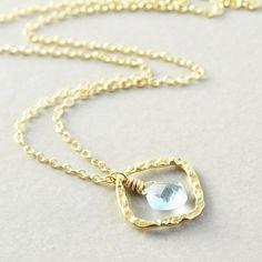 Blue Topaz Necklace Gemstone Necklace December by NansGlam on Etsy, $46.00