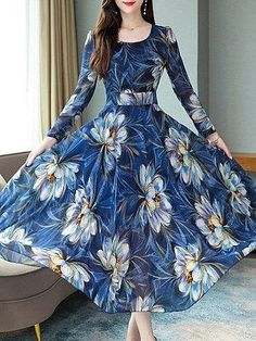 Round Neck Floral Printed Maxi Dress , formal dresses maxi dresses womens dresses summer dresses party dresses long dresses casual dresses dresses for wedding , # Chiffon Maxi Dress, Maxi Dress With Sleeves, Floral Maxi Dress, Skater Dress, Polka Dot Maxi Dresses, Dress Silhouette, Beautiful Dresses, Awesome Dresses, Simple Dresses