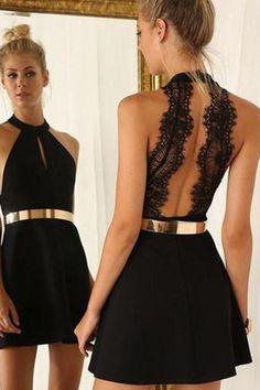 Sleeveless Sheer Back Gold Belt Homecoming Dress Short Prom Dress TR0225