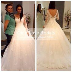 2015 Vestido De Noiva Elegant V-Neck Open Back Wedding Dress Lace Long Sleeve A-line Romantic Wedding Dresses High Quality Cheap