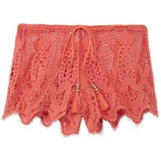 Miguelina Minnie Crochet Shorts (5.210 UYU) ❤ liked on Polyvore featuring shorts, orange, scalloped edge shorts, scalloped shorts, miguelina, scallop hem shorts and crochet shorts