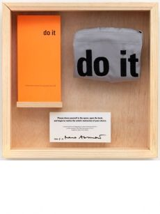 Marina Abramović, Untitled, 2012, do it catalogue (1997 edition), embroidered apron, wooden box, edition of 20 + 5APs