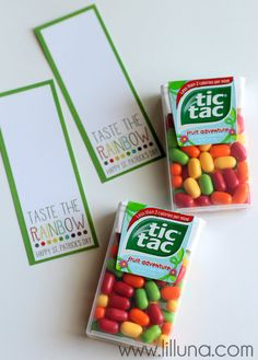 Tic Tac Taste the Rainbow Printable