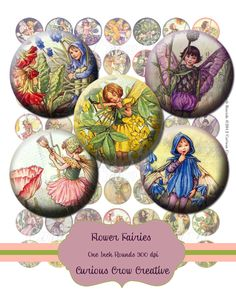 Vintage Flower Fairies One inch Circle Rounds Digital Collage Sheet - Jewelry Scrapbook Charms Art Tags Bottlecap Clip Art DIY Printable. $3.50, via Etsy.