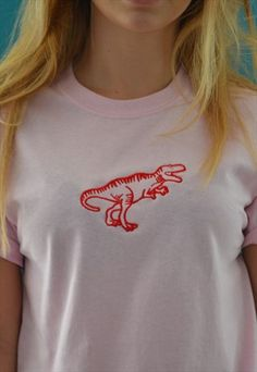 RED DINOSAUR EMBROIDERED PINK T-SHIRT
