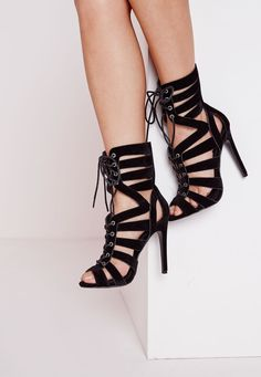 Missguided - Strappy Detail Heeled Sandals Black