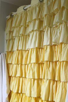 Lemonade Makin' Mama: ruffled shower curtain
