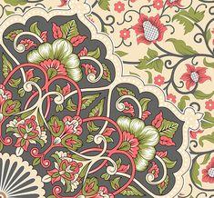 Textile Prints, Textile Design, Textiles, Simple Rangoli Designs Images, Indian Prints, Floral Border, Border Design, Botanical Illustration, Print Design