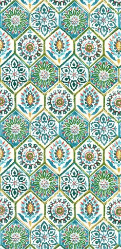 Kaufmann Outdoor Summer Breeze Poolside Fabric - would be really cute tiles on a kitchen splashback Motifs Textiles, Textile Patterns, Print Patterns, Surface Pattern Design, Pattern Art, Green Pattern, Motif Vintage, Pattern Wallpaper, Graphic