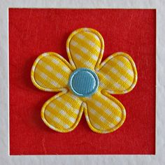 Birthday Card, sister, girlfriend, for her, wife, mum, friend, daughter, yellow gingham flower, red, modern, recycled envelope, cute - pinned by pin4etsy.com