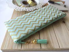 Minze und Gold Chevron - Mäppchen, Planer Tasche, Bleistift-Beutel mit Quaste pull