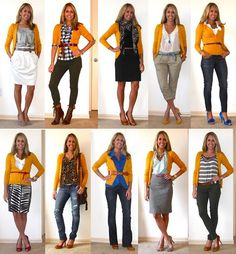 The white skirt/grey silk top combo on the upper left --- love it!