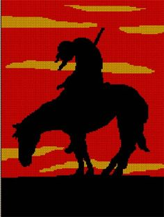 END OF TRAIL SUNSET INDIAN HORSE NATIVE AMERICAN CROCHET PATTERN GRAPH | CozyConcepts - Patterns on ArtFire