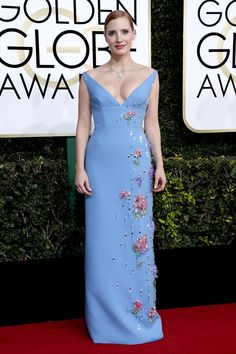 Jessica Chastain in Prada at 2017 Golden Globe Awards in Beverly Hills Check more at https://fashnberry.com/2017/01/jessica-chastain-in-prada-at-2017-golden-globe-awards-in-beverly-hills/