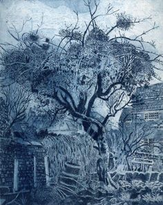 Surprised by Mistletoe, Etching, Janis Goodman