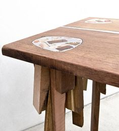 """""""Called Bits of Wood, the stools and table use offcuts from a saw mill and tin from the local recycling facilities. The pieces are packed tightly then fused together with the molten tin, so that the ends of the scrap become part of the seat or table top."""" Dutch designer Pepe Heykoop"""
