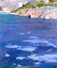 The Little White Boats, Cap Ferrat, 1921 by Sir John Lavery (Irish Oil on canvas, 30 x 25 in. Abstract Landscape, Landscape Paintings, Landscapes, Glasgow, Carl Spitzweg, Antoine Bourdelle, Irish Painters, Ferrat, Impressionist Paintings