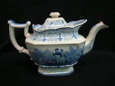 1830s Blue Transferware Staffordshire Tea Pot | eBay