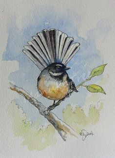 Pen And Watercolor, Watercolor Paintings, Arts And Crafts Storage, Altered Canvas, Nz Art, Art Terms, Bird Drawings, Felt Art, Art Portfolio