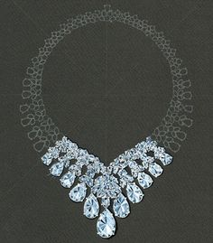 Copy of a watercolor rendering of a diamond necklace by A.V.Shinde for Harry Winston, 1991