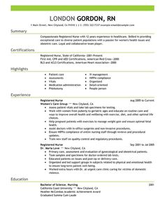 registered nurse resume sample - Resume Samples For Nursing Students