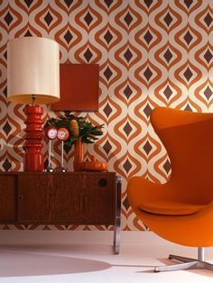 The name given to this wallpaper says it all: Trippy. The bold shapes and colors create a Mad Men-inspired vibe in this space. Image courtesy of Graham & Brown