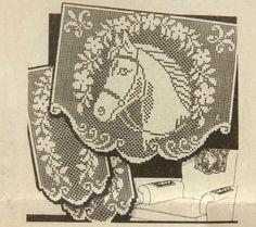 Vtg 1941 Alice Brooks Filet Crochet Chair Back Arm Rest Horse Head Pattern 6940 #alicebrooks