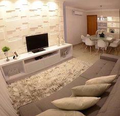 """1,045 Likes, 9 Comments - Decoração◾Design interiores (@decore_by_juju) on Instagram: """"Sala integrada e parede em 3D que tanto amamos. *Inspiração* #decoracaodeinteriores #decor…"""""""