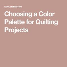 Choosing a Color Pal