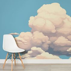 Big Clouds Wall Mural, custom made to suit your wall size by the UK's for murals. Custom design service and express delivery available. World Map Mural, World Map Wallpaper, Kids World Map, Cloud Wallpaper, Normal Wallpaper, Standard Wallpaper, How To Hang Wallpaper, Nursery Wallpaper, Photo Wallpaper