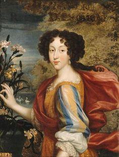 Marie-Louise d'Orleans, Queen of Spain (1662-1689), first child of Philippe d'Orleans and Henriette-Anne of England, circa 1679 by Louis le Vieux Elle (Chateau de Versailles)