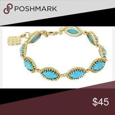 Kendra scott Jana bracelet turquoise and gold Kendra scott turquoise and gold bracelet...Very beautiful it's a shame to let it go! Great stacked with other bracelets or watched. Very chic and will always be in style! Kendra Scott Jewelry Bracelets