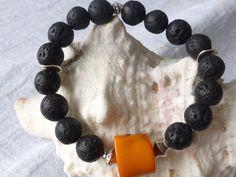 Koralle - Elastisches Lava Armband UNIKATSCHMUCK - ein Designerstück von SchmuckeFarbenKunst bei DaWanda