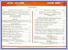 Hotel Tallcorn, Marshalltown IA Coffee Shop Menu 1957