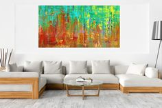 November rain - XXL colorful abstract landscape Acrylic painting by Ivana Olbricht Abstract Landscape Painting, Landscape Paintings, Abstract Art, Landscapes, Palette Knife Painting, Office Art, Copper Color, Ivana, Colorful Backgrounds
