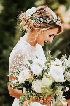 24 Stunning Greenery Wedding Hair Ideas ❤ See more: www. , 24 Stunning Greenery Wedding Hair Ideas ❤ See more: www. Flower Crown Wedding, Wedding Hair Flowers, Wedding Hair Pieces, Wedding Updo, Flowers In Hair, Wedding Greenery, Flower Crown Hairstyle, Crown Hairstyles, Loose Hairstyles