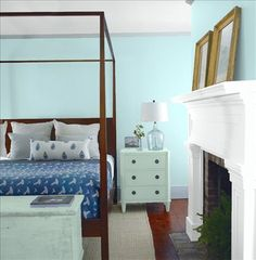 Look at the paint color combination I created with Benjamin Moore. Via @benjamin_moore. Wall: Bird's Egg 2051-60; Mantle: Chalk White 2126-70; Chest: Wythe Blue HC-143; Ceiling: Chalk White 2126-70.