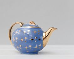 Vintage Hall China Teapot Gold Label Star Blue Gold by RD1Vintage, $35.00