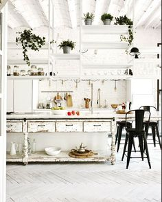 "701 Likes, 11 Comments - Livingetc magazine (@livingetcuk) on Instagram: ""This gorgeous white kitchen combines industrial, vintage and modern- just the kind of look we love!…"""